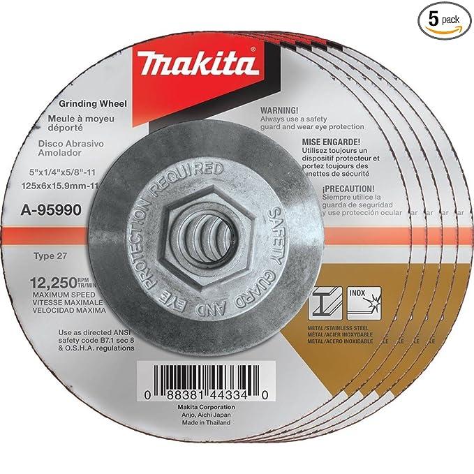 Makita A-95990-5 36 Grit Hubbed INOX Grinding Wheel (Pack of 5), 5