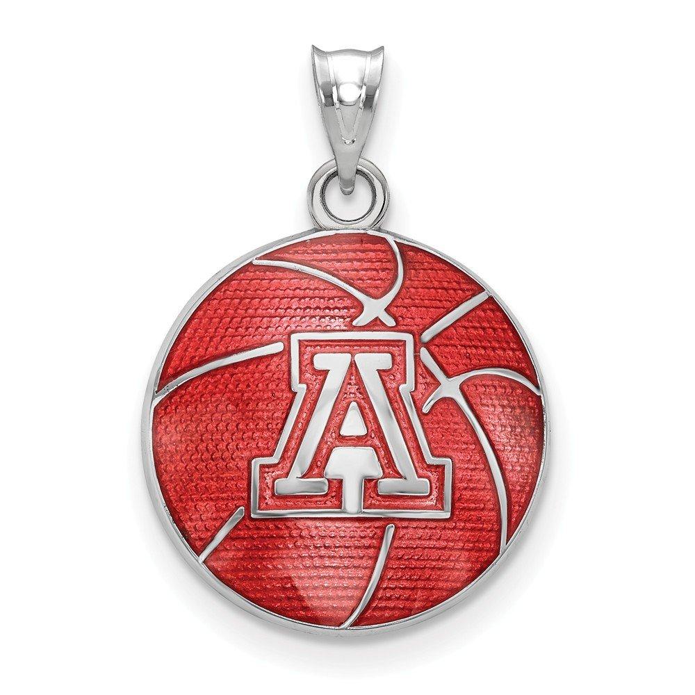 Jewel Tie 925 Sterling Silver The University 16.3mm x 23.5mm of Arizona Enameled Basketball Pendant