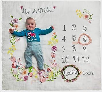 51bb26232603 Amazon.com  Baby Monthly Milestone Blanket for Boys Girls