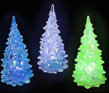 Mini Christmas Village Display.Set Of 6 Mini Light Up Crystal Like Christmas Trees