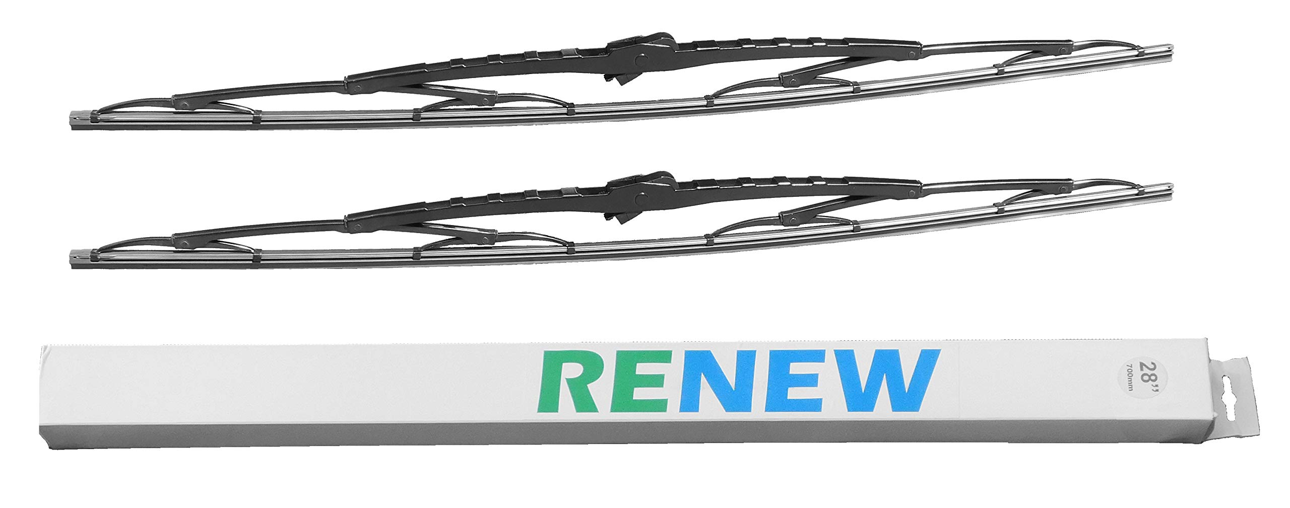 28 Inch Wiper Blade Pair for RV or Motorhome with large 12mm J Hook by Renew