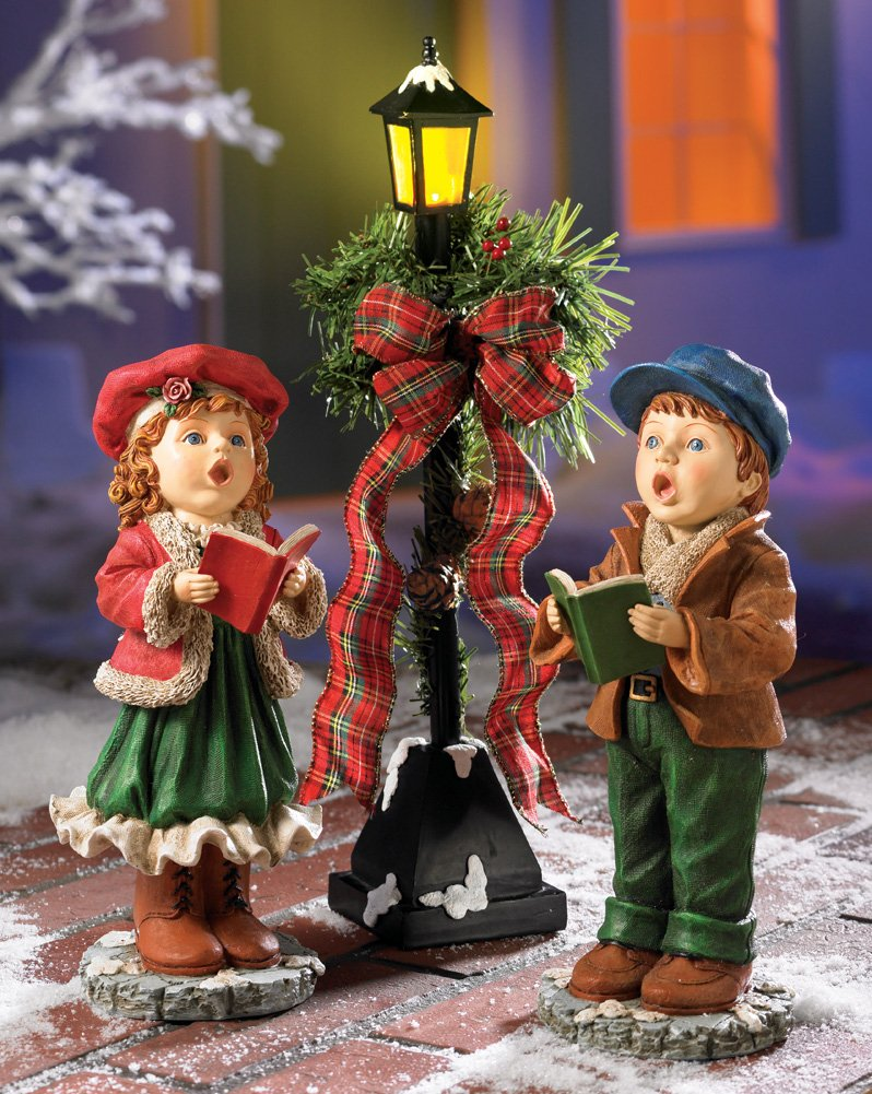 whimsical kids singing caroler lighted lamp post lantern boy girl caroling christmas patio porch indoor holiday decoration amazoncouk kitchen home