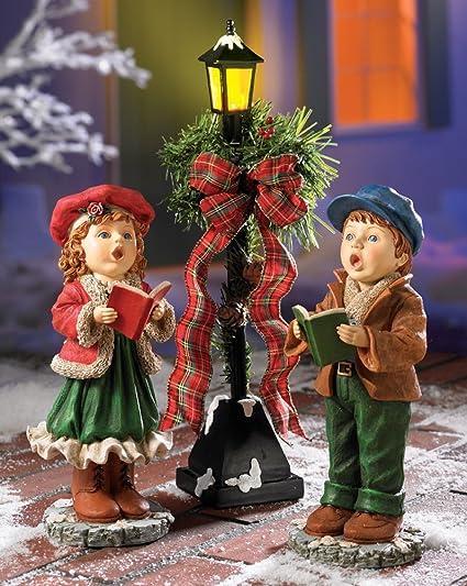 Snowmen Christmas Carolers Decoration with Light Up Street Light