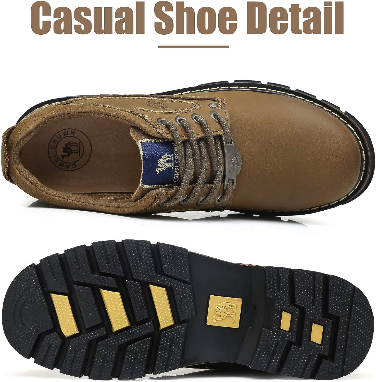 CAMEL CROWN Herrenschuhe Kurzschaft Stiefel Klassische Halbschuhe Leder Freizeitschuhe Walkingschuhe Rutschfeste Schnürschuhe Walkingschuhe