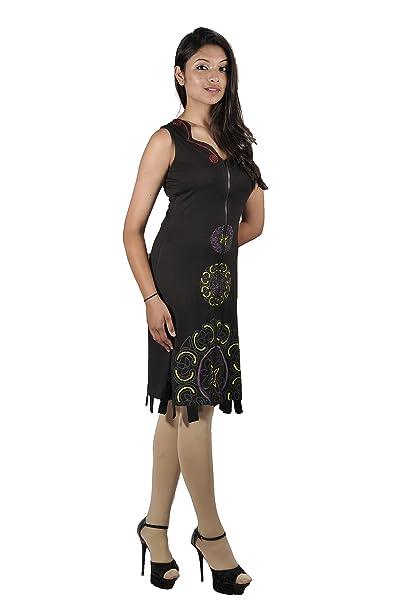 Summer para mujer negro e instrucciones para hacer vestidos sin mangas con  cierre de cremallera y diseño de impresión diseño de patrón de tela de  colores. 59f0ce90c5b4d