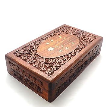 Caja Vintage de madera, tallado Latón Trabajo Joyero 10 x 6 cm, caja decorativa, caja de recuerdos: Amazon.es: Hogar