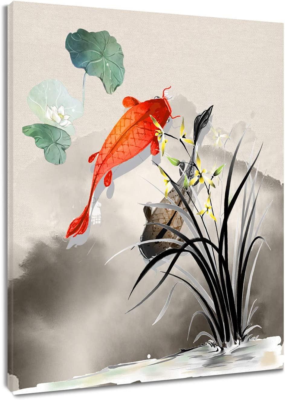 HVEST Fish Canvas Wall Art Koi in Lotus Pond Artwork Chinese Ink Painting for Living Room Bedroom Bathroom Wall Decor,Stretched and Framed Ready to Hang,12x16 inches
