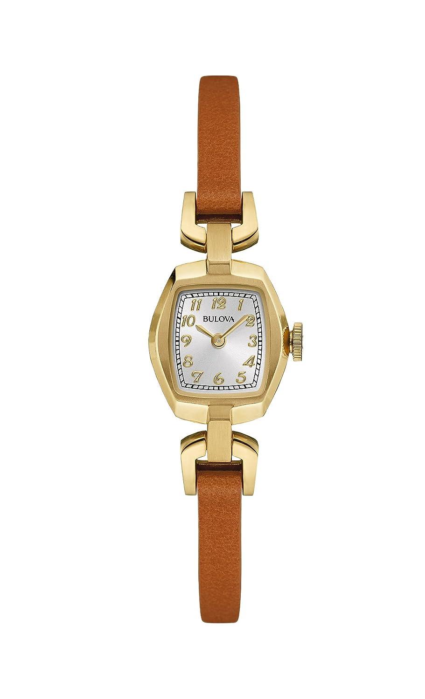 baa763ab4 Amazon.com: Bulova Women's Quartz Stainless Steel and Brown Leather Dress  Watch (Model: 97L153): Bulova: Watches