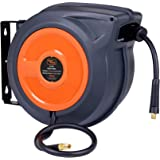 "SuperHandy Air-Hose-Reel Retractable 3/8"" x 50' Feet Long Industrial Water Premium Commercial Flex Hybrid Polymer Hose Spring Driven Polypropylene Heavy Duty with Lead in Hose & PVC Handle"