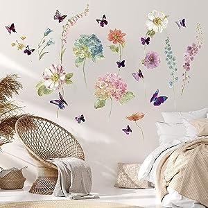3D Butterfly Flowers Garden Wall Decal,Peel and Stick Removable Decor Vinyl Wall Art Sticker Wallpaper Murals for Boy Girl Bedroom Living Room Kindergarten Classroom