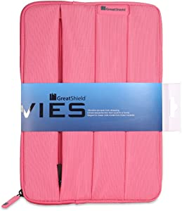 GreatShield VIES Nylon Zippered Sleeve Case Neoprene Shockproof Interior with Pencil Holder Pocket Compatible with Apple iPad 10.2-inch Tablet (Pink)