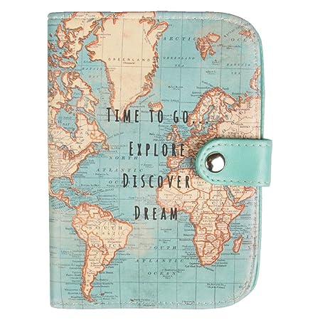 World Map Passport Holder.Sass Belle Vintage World Map Passport Holder Amazon Co Uk