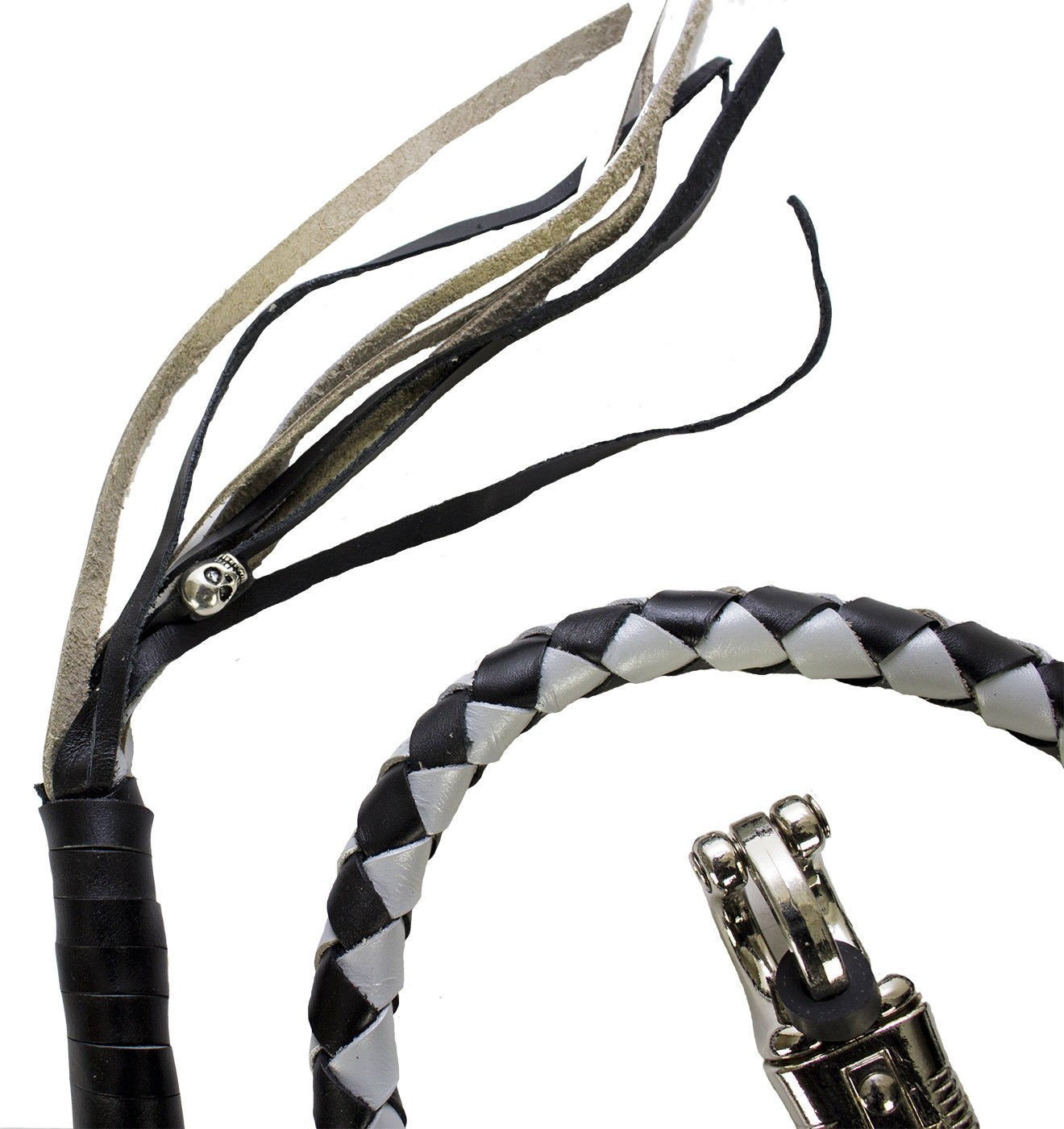 """42 Long 1//2/"""" Diameter Silver /& Black Motorcycle Get Back Whip Real Soft Genuine Leather DMD Trading"""