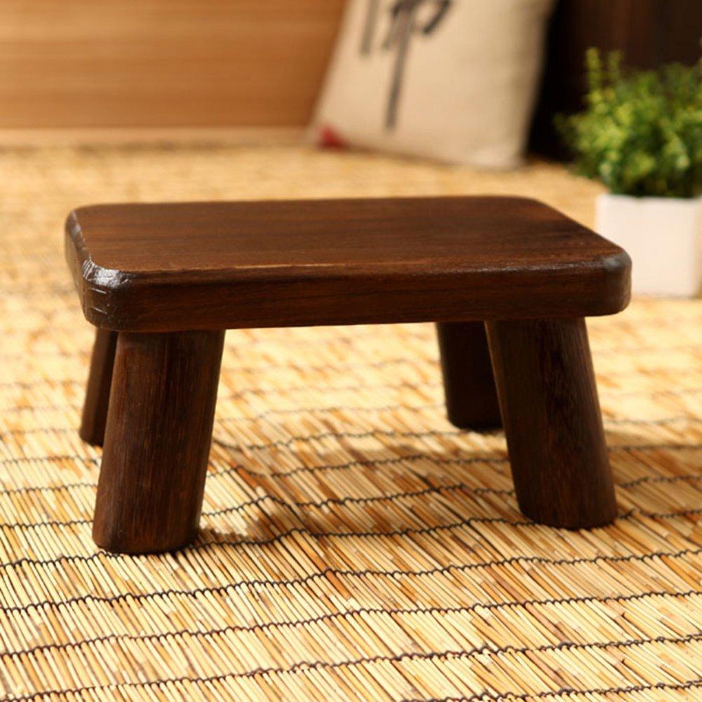 Denzihx Vintage Meditation Tatami mats Floor Stool,Step stool Wood [japanese-style] Mini Small Stool-A