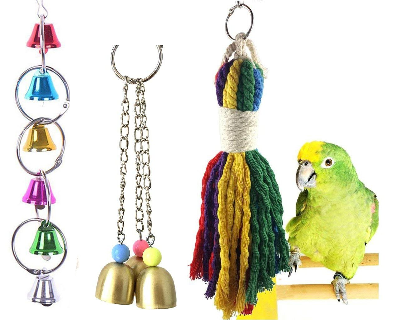 Lasoue Colorful Hanging Rope Toys Bird Bell Chew Toy Parrot Cage Toy for Playing Chewing Preening Small and Medium Birds 3 Pack