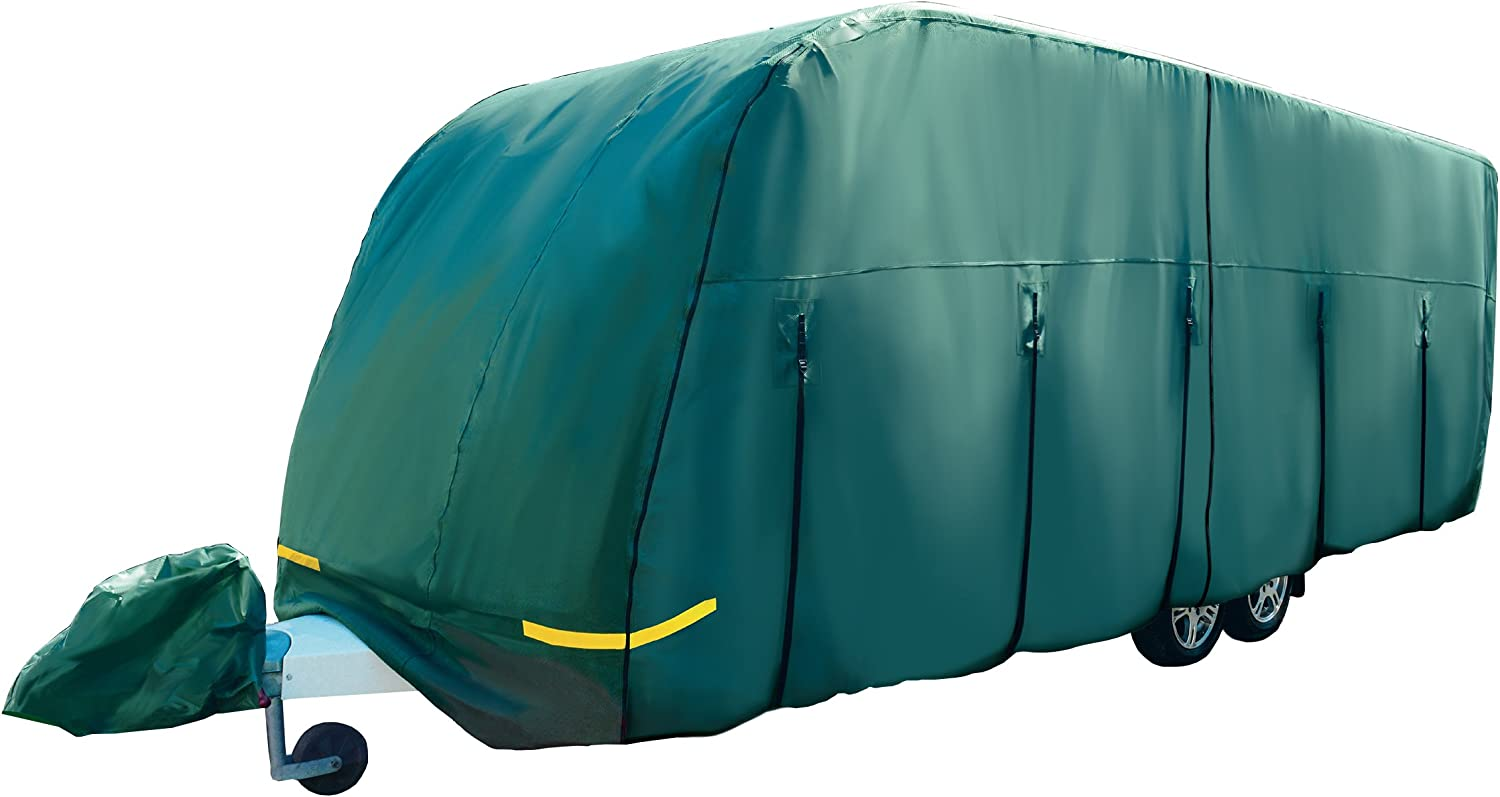 14-17ft Maypole 4-Ply Breathable Grey Caravan Cover with FREE Hitch Cover /& Storage Bag