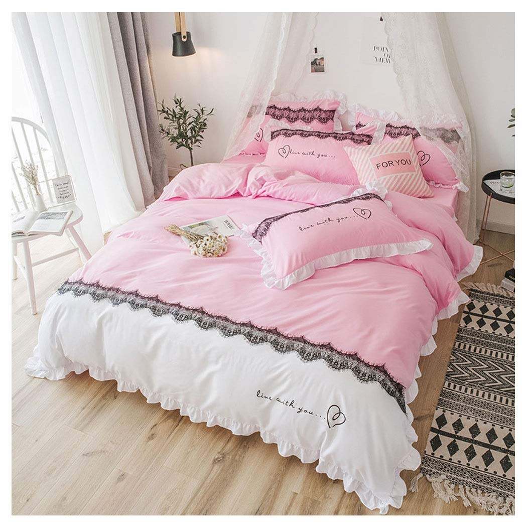HUIFANGHOUSEHOLD Girl Heart Sanding Bed Cover Lace Princess Wind Four-Piece Bed Skirt Lotus Leaf Bedding (Color : Pink, Size : 2.0 Bed)