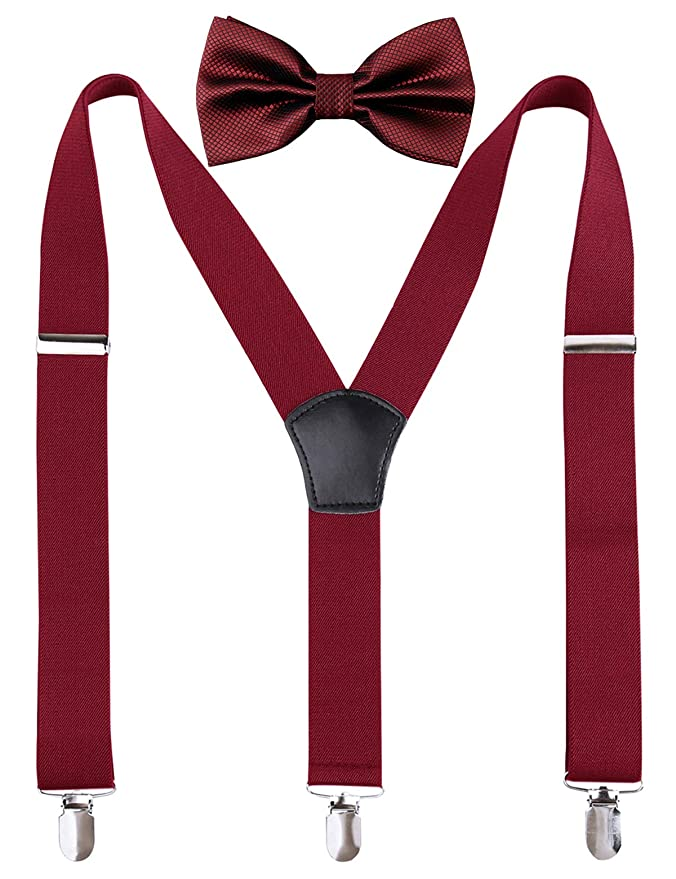 92665d839ff6 Men's Solid Bow Ties & 3.5 cm Suspenders Sets(Maroon): Amazon.in: Clothing  & Accessories