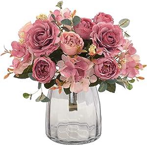 KARORO 2 Packs Artificial Flowers Fake Peony Silk Hydrangea Bouquet Decor Faux Plastic Camellia Vivid Realistic Flower Arrangements Wedding Decoration Table Centerpieces (Deep Pink)