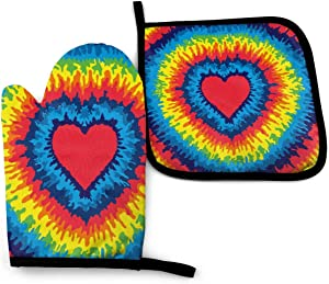 Foruidea Tie Dye Love Colorful Rainbow Oven Mitts and Pot Holders Sets Kitchen Heat Resistant Oven Gloves for BBQ Cooking Baking, Grilling, Machine Washable (2-Piece Sets)