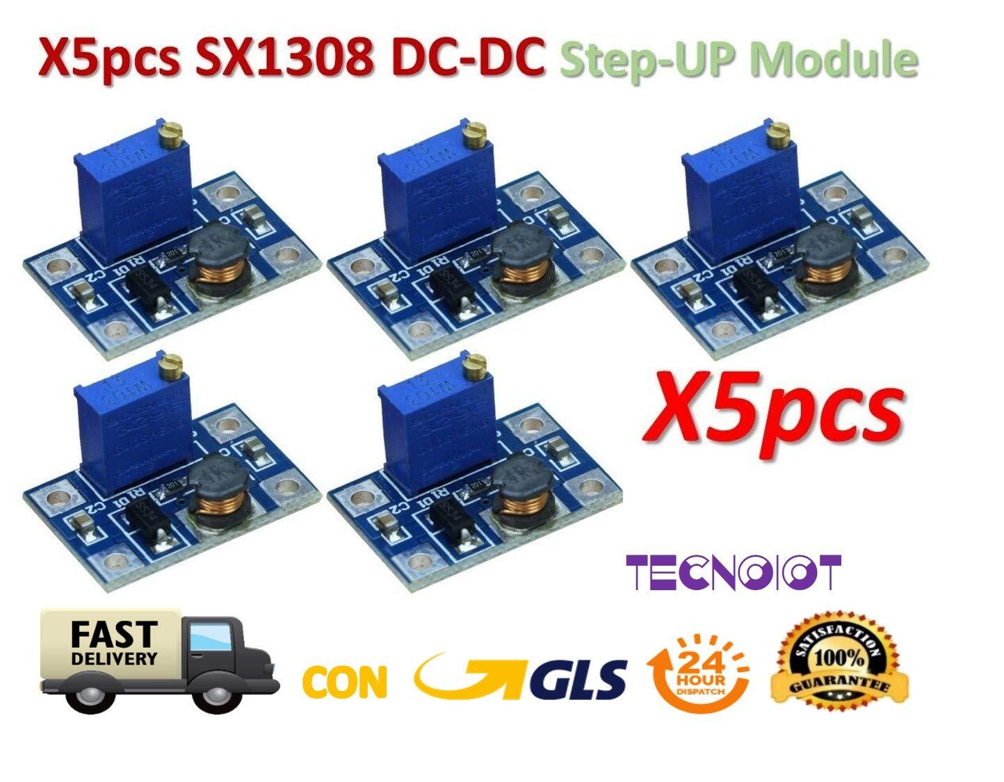 TECNOIOT 5pcs DC-DC SX1308 Step-UP Adjustable Step Up Boost Converter 2-24V to 2-28V 2A