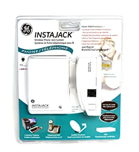 GE 86597 20467 INSTAJACK 2 Land-line Modem VoIP Satellite Receiver DVR Plug/Play Phone Wireless Jack System AC Outlet to Phone Jack 120V Base Unit +Extension Unit +6FT Phone Line Cord 20467-1 450-0126