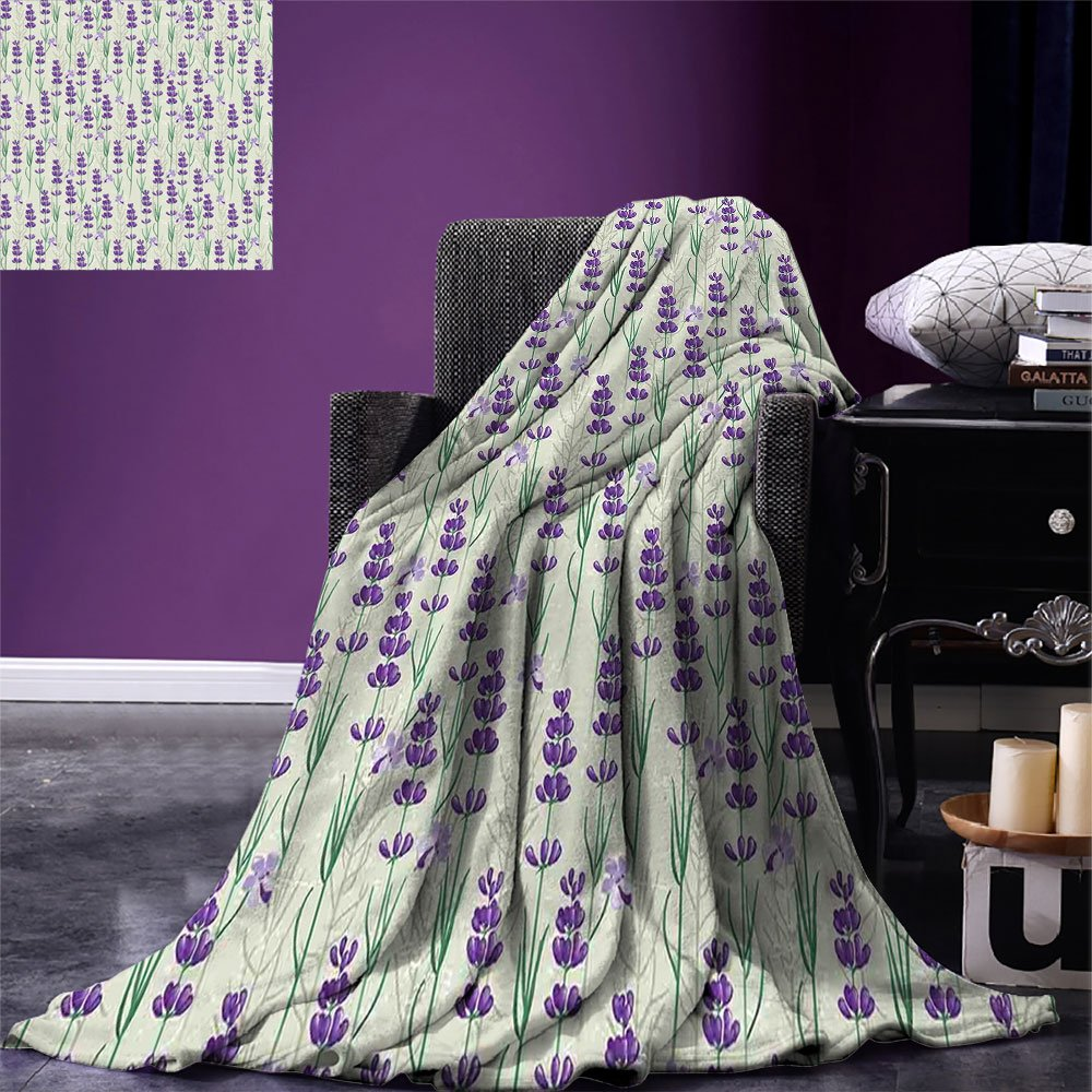 smallbeefly Lavender Digital Printing Blanket Botanical Pattern with Fresh Herbs Aromatherapy Spa Theme Summer Quilt Comforter Pale Sage Green Violet and Green