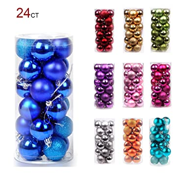 Image Unavailable. Image not available for. Color: 24PCS Christmas Ball  Ornaments Bulk ... - Amazon.com: 24PCS Christmas Ball Ornaments Bulk Baubles Set Blue