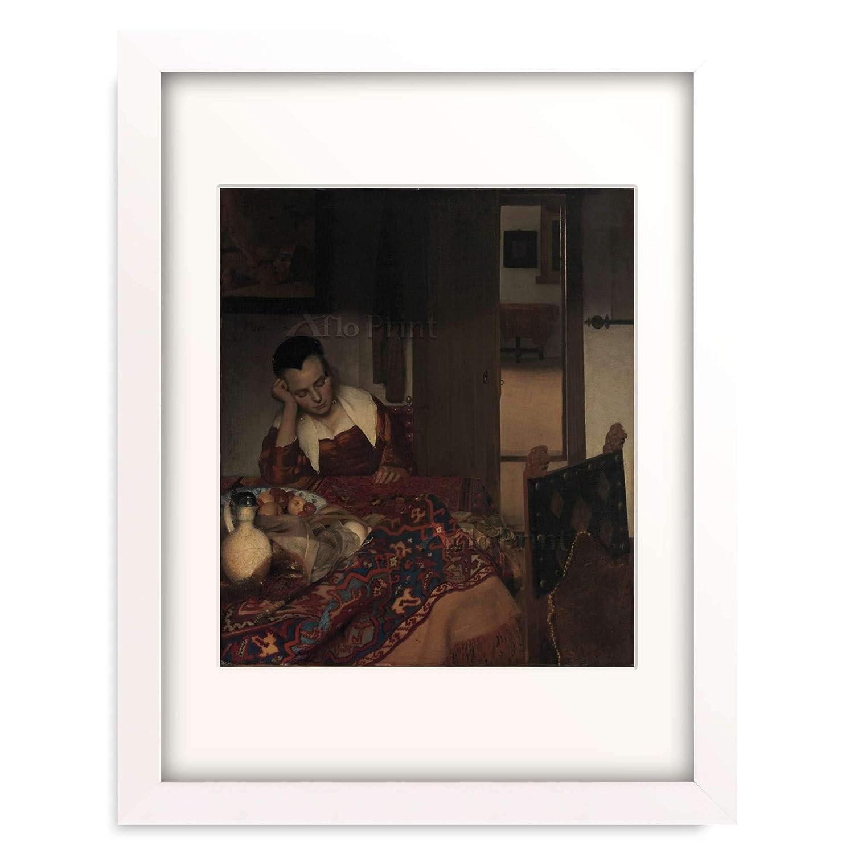 ヨハネスフェルメール Johannes Vermeer 「A Maid Asleep, ca. 1656–1657」 額装アート作品 B07PDJKTXW 04.木製額 22mm(パールホワイト) S(額内寸 255mm×203mm) S(額内寸 255mm×203mm) 04.木製額 22mm(パールホワイト)
