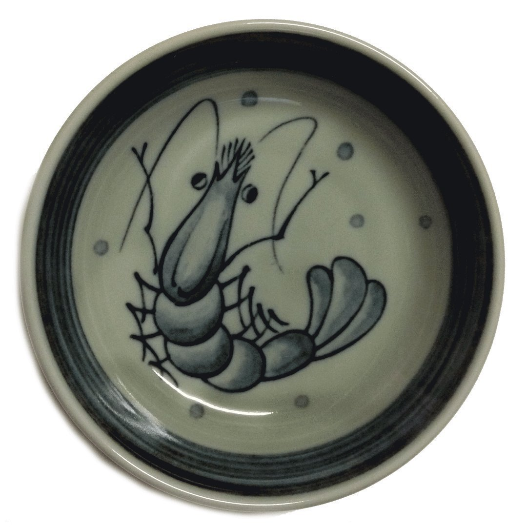 4 Pieces of Japanese 4'' Diameter Round Sushi Soy Sauce Dipping Dish Plates in Shrimp Design