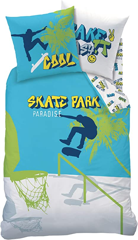 Despertar Caballero amable Jadeo  Sábanas infantiles para skateboard - Funda de almohada de 80 x 80 cm y  funda nórdica de 135 x 200 cm: Amazon.es: Hogar