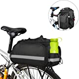 Bike Pannier Bag Durable Waterproof Large Capacity cycle panniers Oziral Nylon bike saddle bags with 2 Detachable Load Pack, Water Bottle Case around Reflective Stripe and Built-in Rainproof Cover