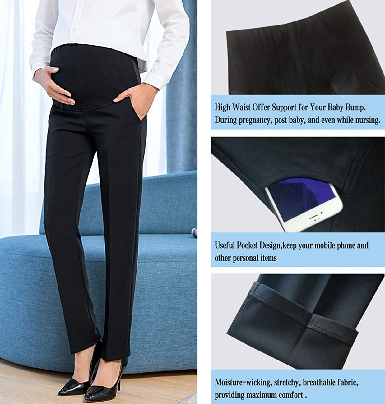 bb07f9a8e20af Foucome Maternity Work Pants Over Bump High Waist Formal Pregnancy Trousers  for Women [Updated Version 2.0] at Amazon Women's Clothing store: