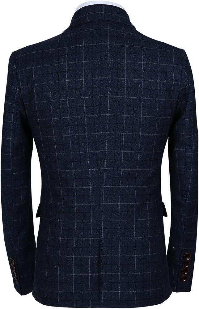 Mens 3 Piece Slim Fit Plaid Suit Blazer+Vest+Pants