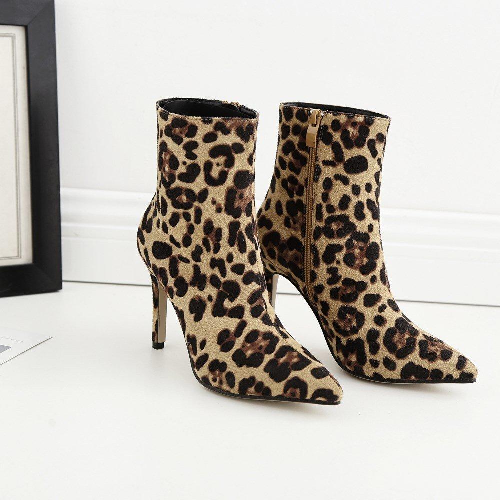 GoldGOD Damen Damen Damen High Heels Spitzen Stiletto Leopard Beschmutzt Damen Damen Stiefel,Gelb,39 e775c4