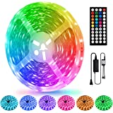 LED Strip Lights 50 Ft, LEHOU Color Changing Light Strips with 44Key IR Remote and DC24V Power Supply, Flexible 5050 RGB…
