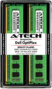 A-Tech 8GB RAM Kit for Dell OptiPlex 9010, 7010, 3010, 990, 980, 790, 390, DT/MT/SFF/USFF - (2 x 4GB) DDR3 1333MHz PC3-10600 Non-ECC DIMM Memory Upgrade