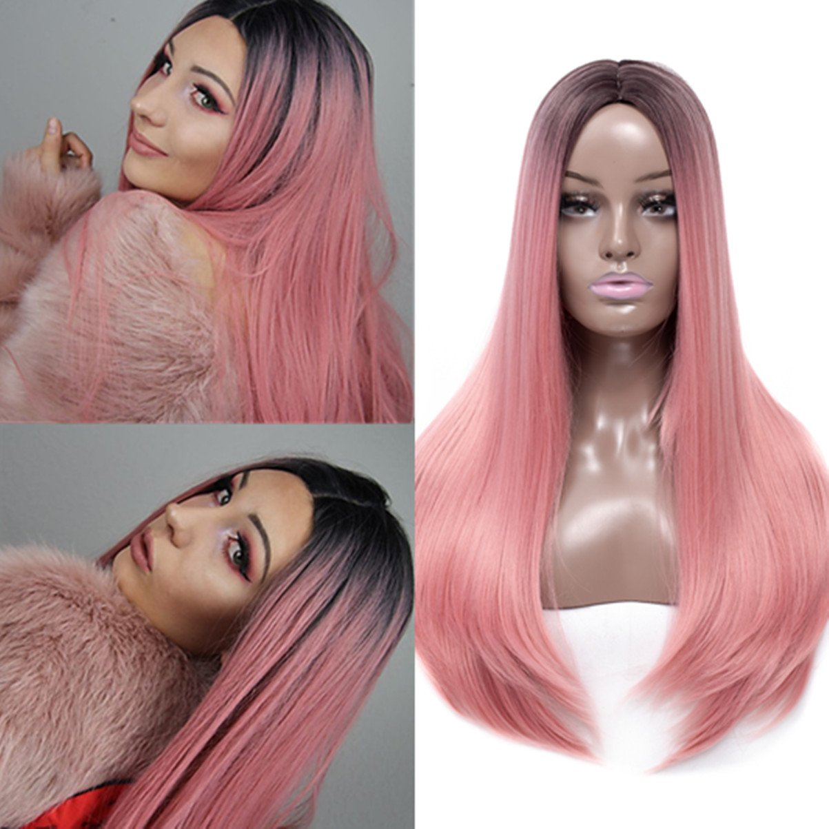 ATOZQueen Synthetic Long Straight Ombre Wig Black Root to Peach Pink Wigs with Middle Part for Women