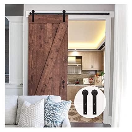 LWZH 11FT Sliding Barn Door Hardware Kit for Single Door(Black I-Shaped  Hangers)