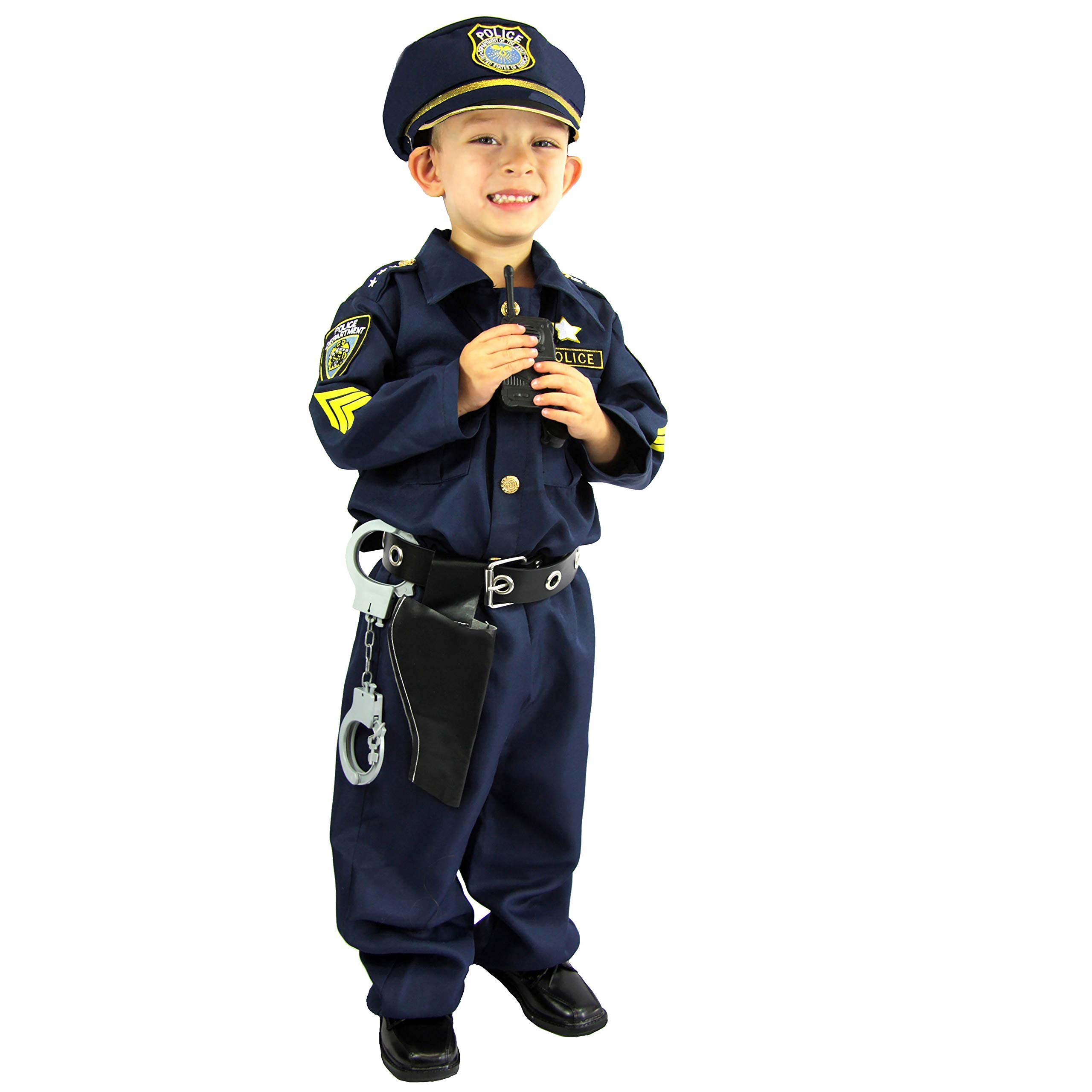 Police Costume for kids Boys Girls with Toy Role Play Kit with badge handcuffs