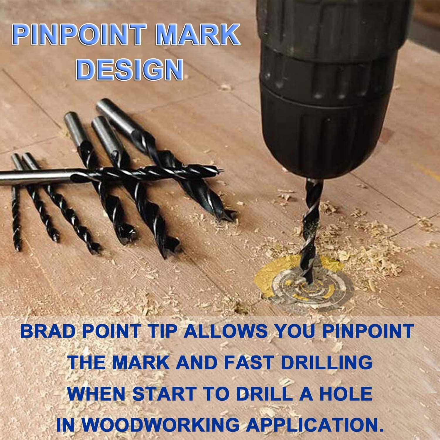 Brad Point Drill Bits 8 Pcs 3-10mm Spur Point Spiral Twist Wood Metric Drill Bits with Durable Case Wood Working Tool for Hardwood or Softwood