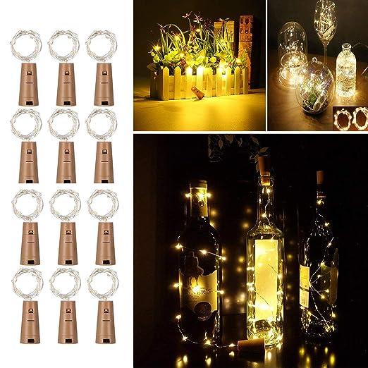 12 Pack Luces de Botella de Vino, Cadenas Luces para Botella de Luz - Tira de luz de corcho Tapa de botella, 2M/20 para Boda, Navidad, Fiesta, Hogar ...