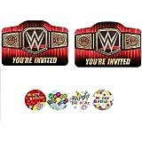 Wrestling WWE Party Birthday Invitations Invite Boy SMASH Supplies (16 PCS)