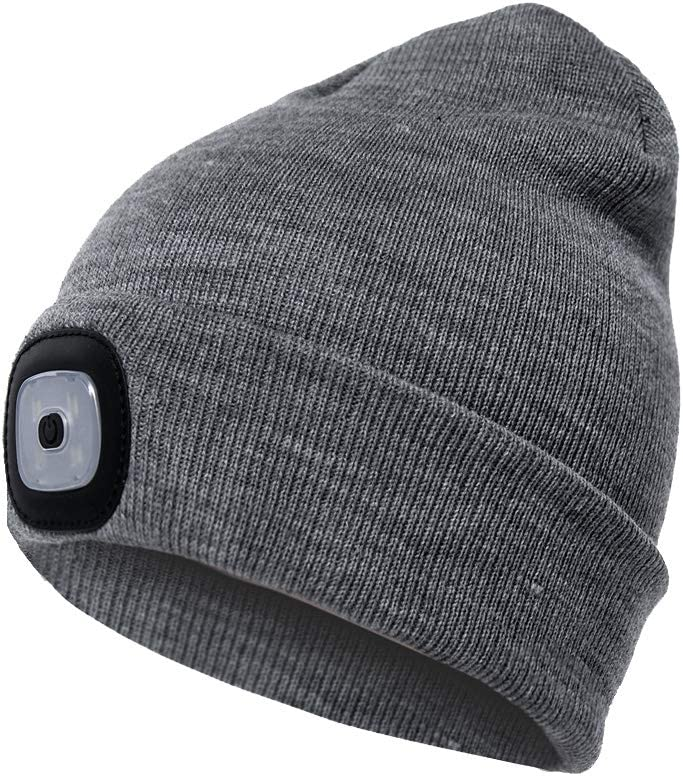 Etsfmoa Unisex LED Beanie Hat with Light, Gifts for Men Dad Women USB Rechargeable Winter Knit Lighted Headlight Hats Headlamp Cap (Grey)
