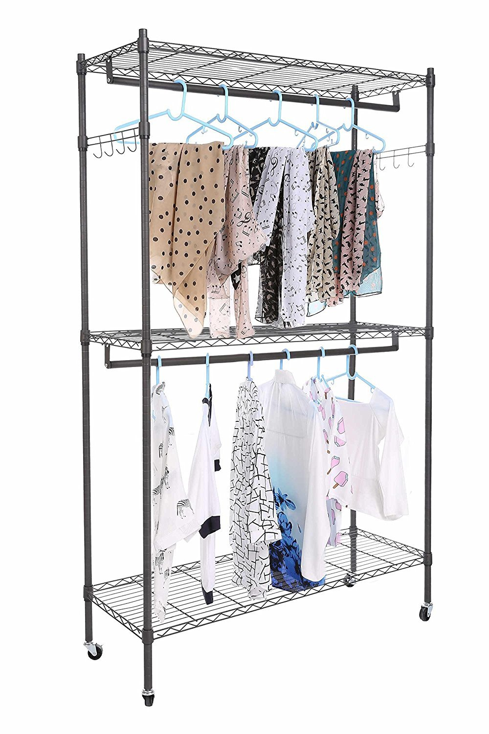 Large Portable 3-Tier Wire Shelving Clothes Wardrobe Home Closet Hanger Storage Organizer Shelf Garment Rack + Side Hooks + Wheels (GR, 2 set of hanging clothes)