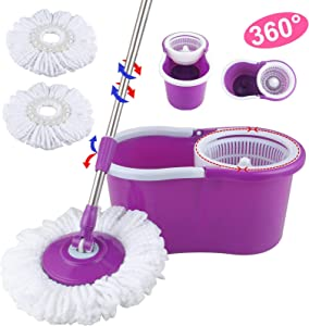 360° Rotating Head Easy Magic Floor Mop Bucket 2 Head Microfiber Spinning