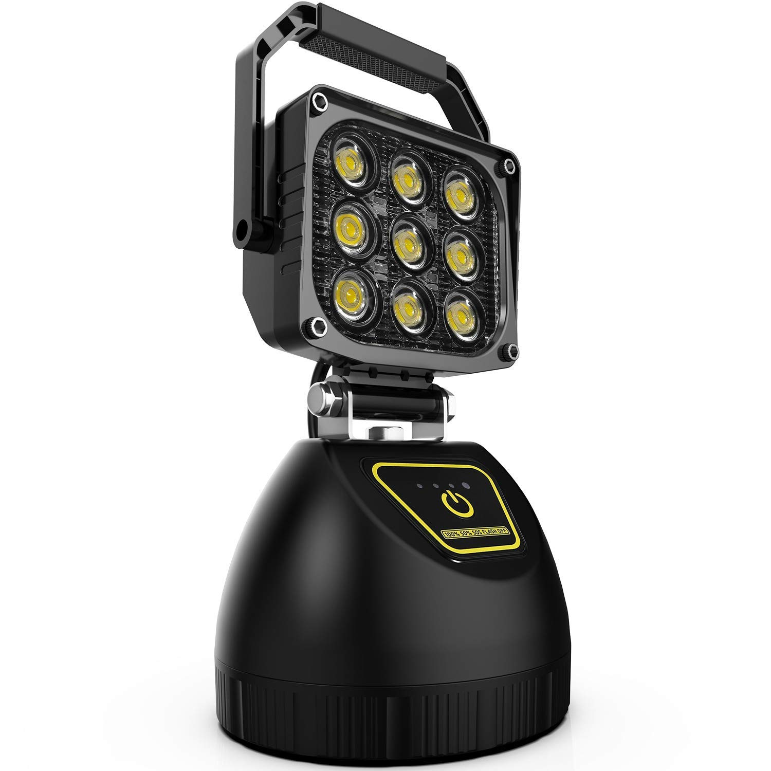 Wiland  LED Work Light Rechargeable 27W Portable Outdoor Camping Light LED Emergency Flood Light for Auto Boat Home Security Farm Field Repair Workshop LED Search Light with SOS Function Magnetic Base