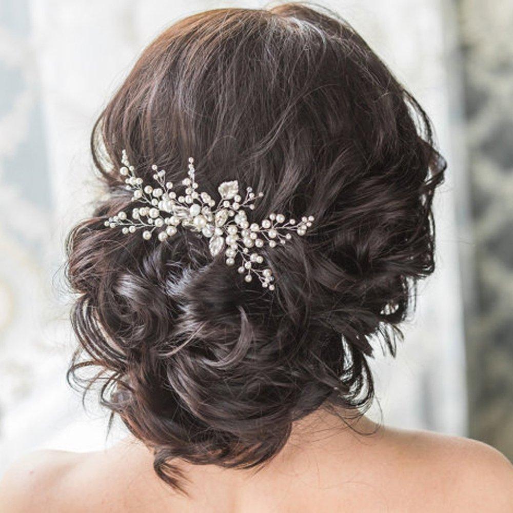Amazon.com : Barogirl Wedding Pearl Hair Comb Rhinestone