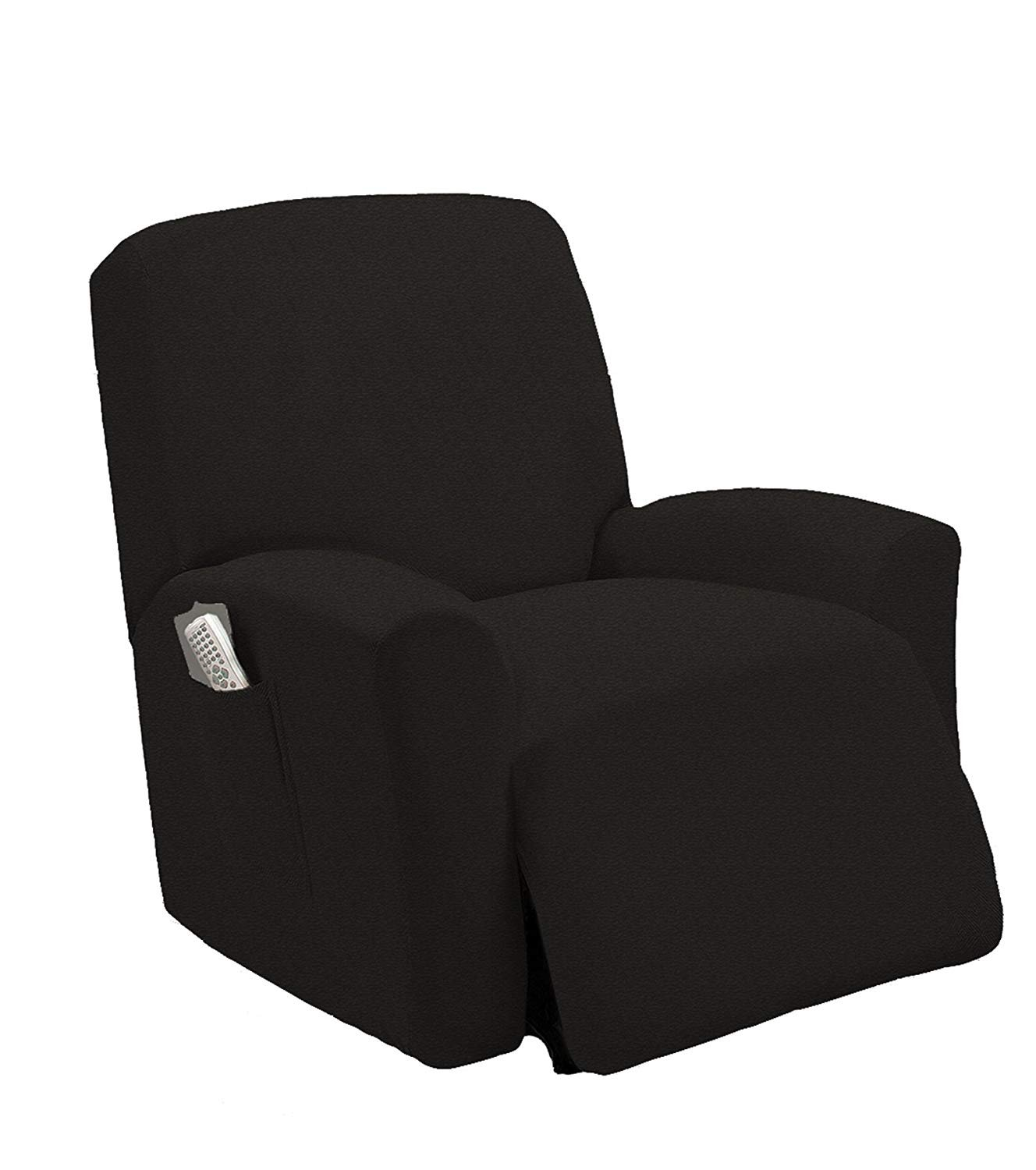 Stretch To Fit One Piece Lazy Boy Chair Recliner Slipcover, Stretch Fit Furniture Chair Recliner Cover With 3 Foam Pieces to Hid Extra Fabric, 4 ELASTIC STRAPS for Cover Stability (Black)