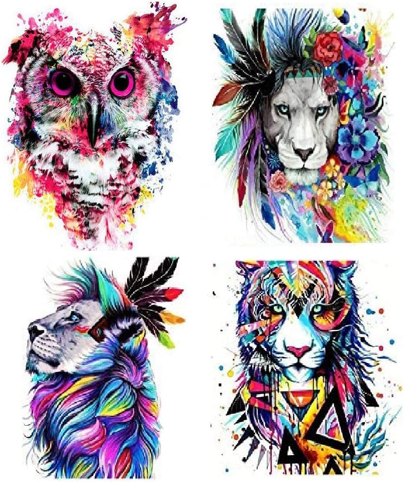 KisSealed 4 Pack 5D Diamond Painting Kits for Adults Full Drill for Home Wall Decor,Colored Animals,12x16Inch